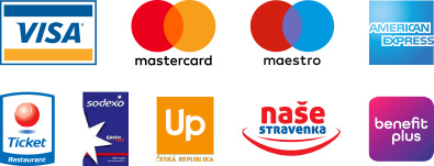 VISA, MasterCard, Maestro, American Express, Ticket Restaurant, Gastro Pass, Up, naše stravenka, benefit plus